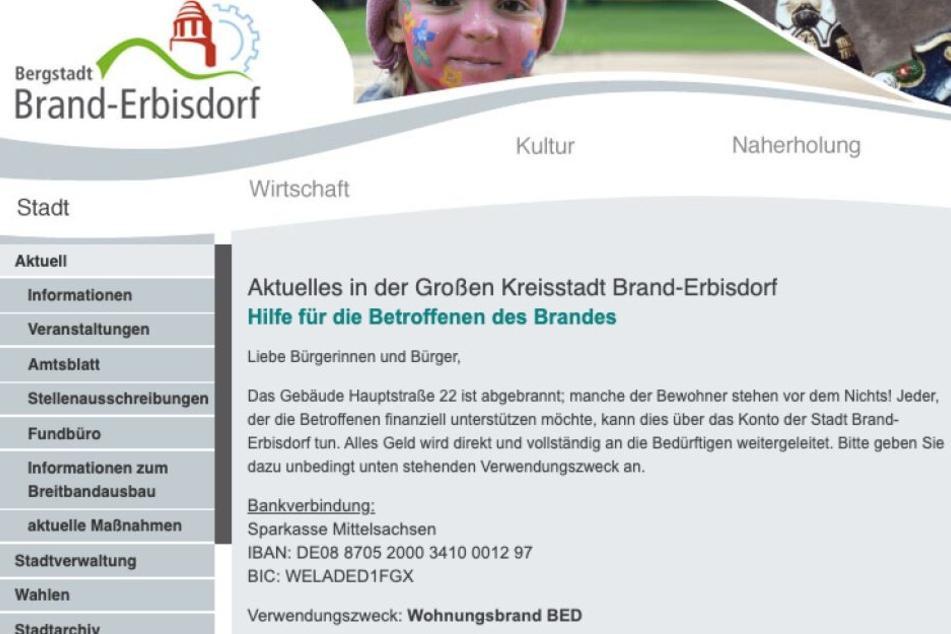 Die Stadt Brand-Erbisdorf ruft zu einer Spendenaktion für Betroffene auf.