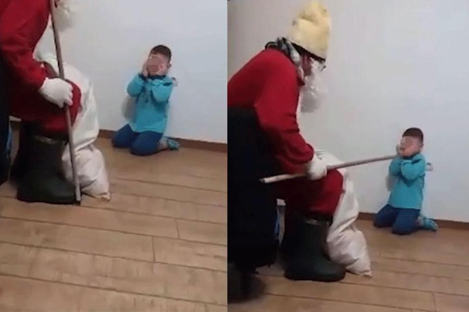 Der Junge weinte und hatte große Angst.