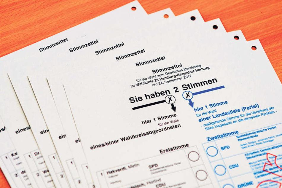 Als Hilfe für Blinden-Schablonen sind alle Stimmzettel einheitlich in der  rechten oberen Ecke gelocht oder abgeschnitten.