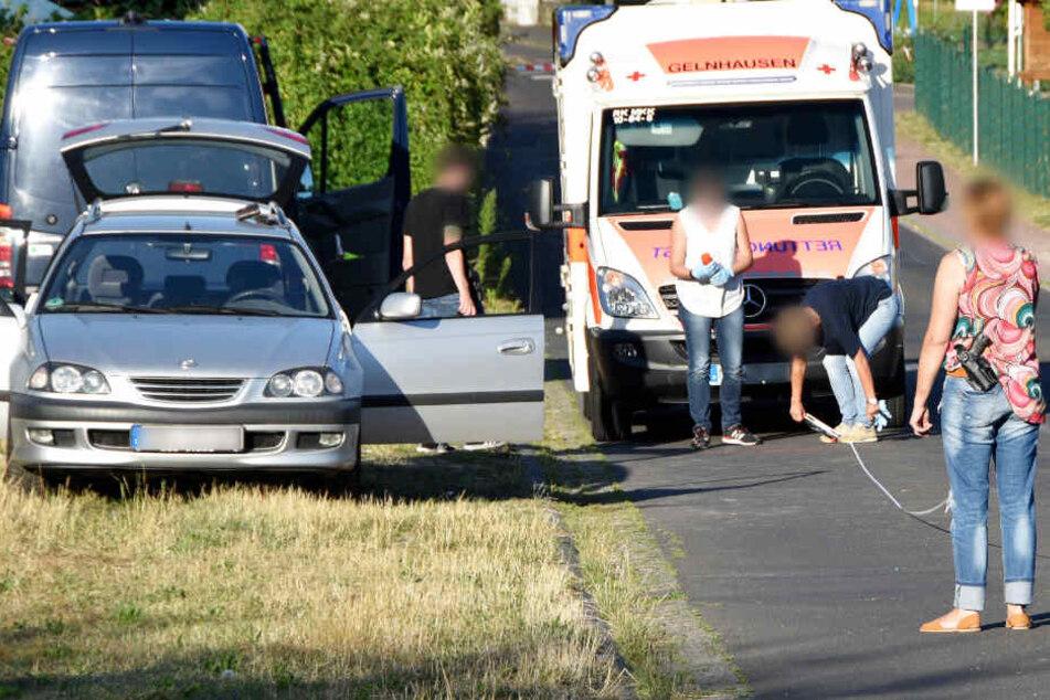 Das Foto zeigt das Auto des mutmaßlichen Täters am Montag in Biebergemünd.