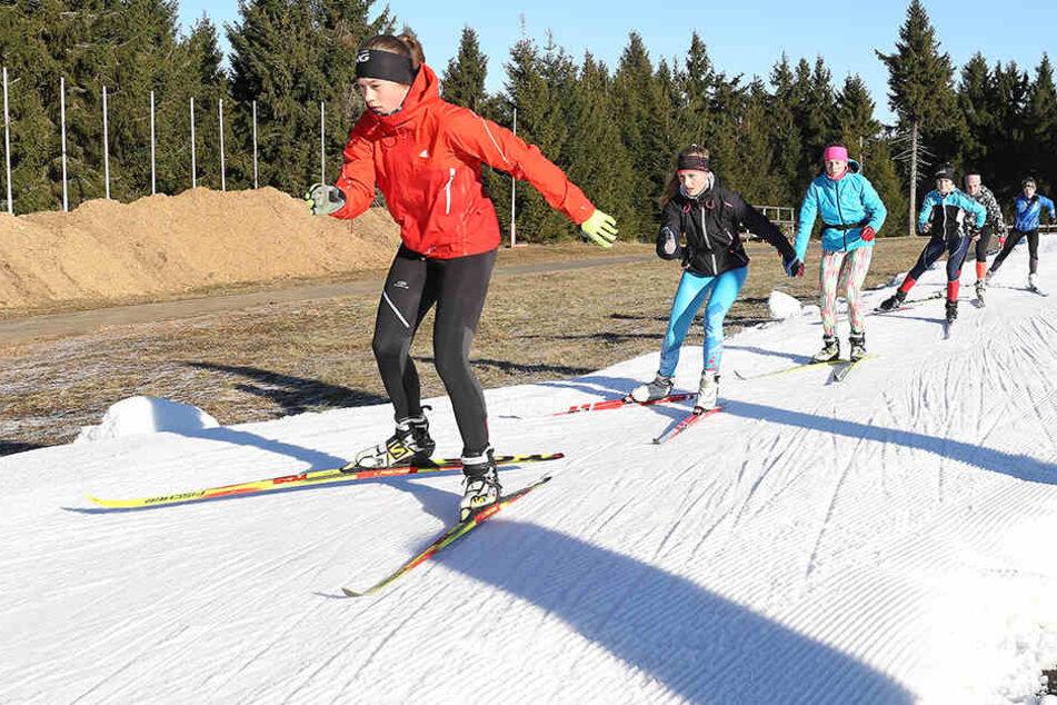 Hier in Sachsen ist Skifahren schon möglich