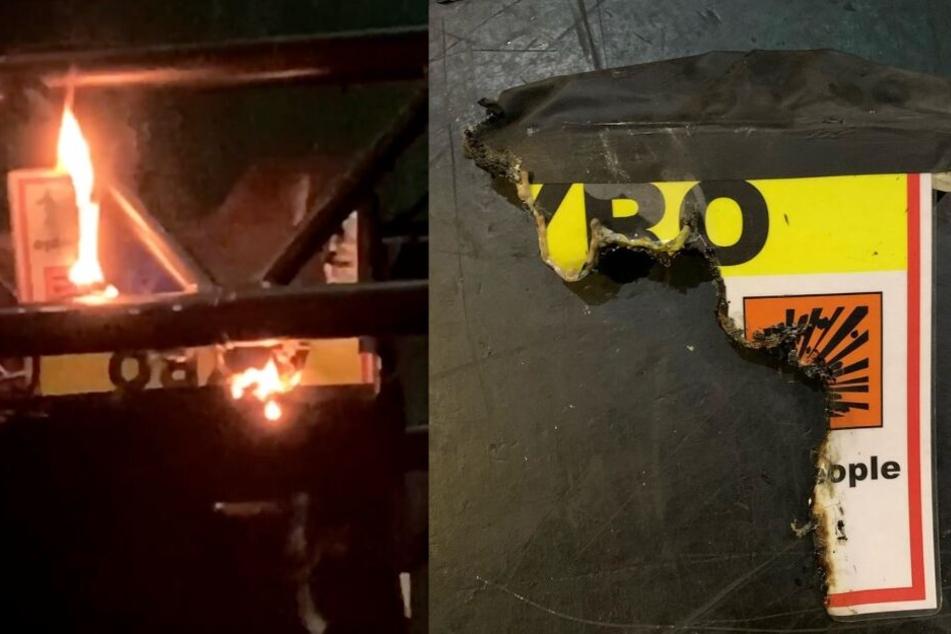 """Ausgerechnet das """"Vorsicht, Pyro""""-Schild brannte plötzlich lichterloh."""