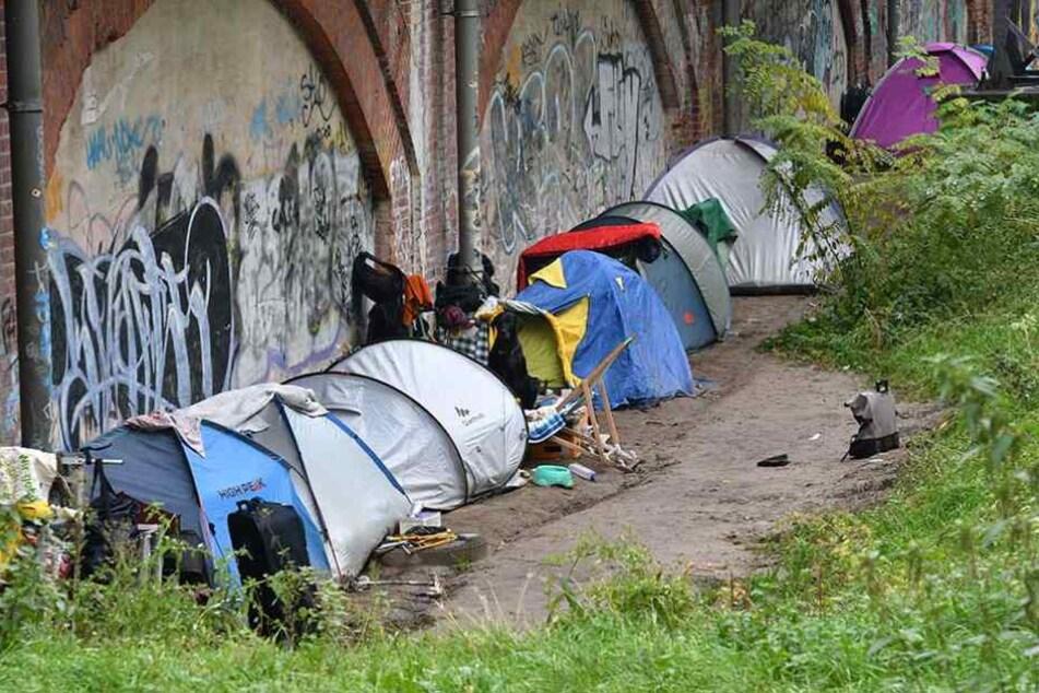 Ein illegales Obdachlosen-Zeltlager in einem Berliner Park.