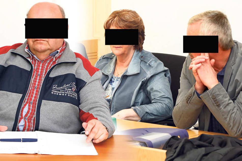 Michael B. (70) und Christa (70) sowie Spediteur Wolfgang H. (64, l.) sitzen derzeit vorm Landgericht.