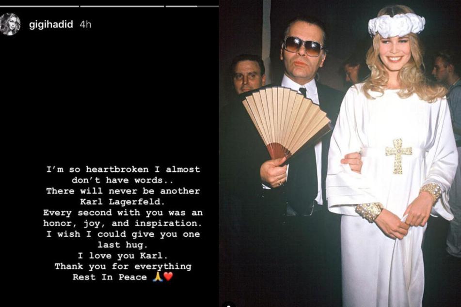 Model Gigi Hadid (links) und Claudia Schiffer kondolieren, wie zahlreiche andere Promis auch.