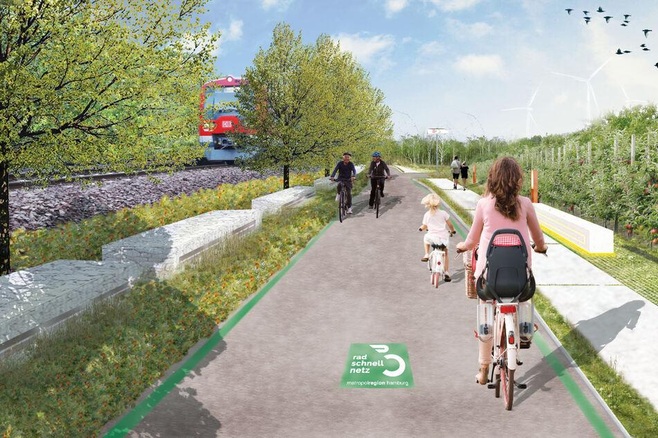 So könnte ein Radschnellweg entlang einer S-Bahn-Linie aussehen.