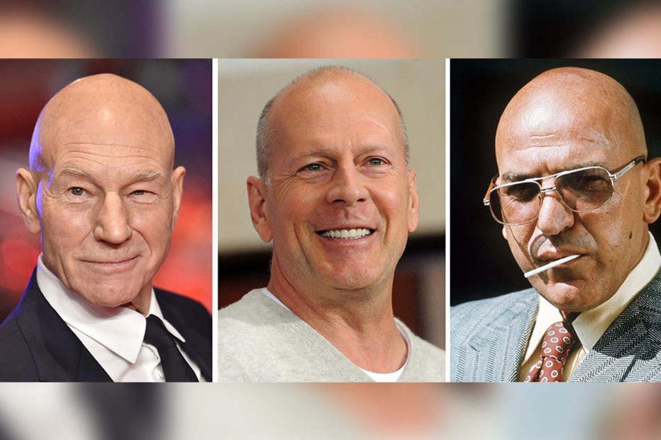 Schauspieler Patrick Stewart (l), Bruce Willis und Telly Savalas tragen Glatze.