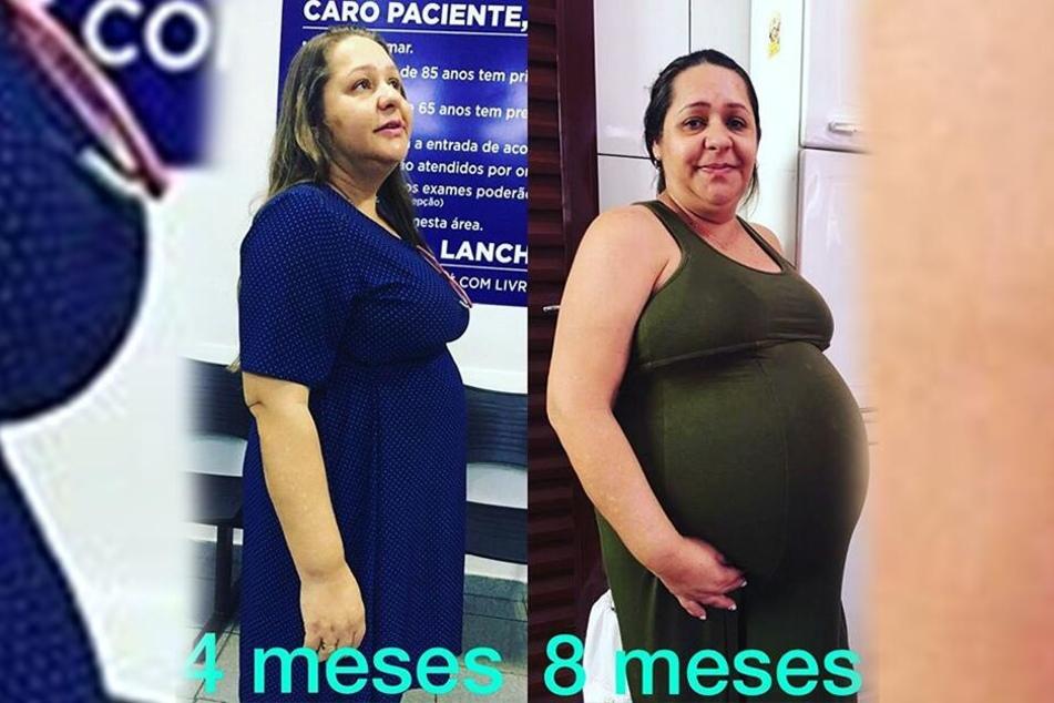 Valdira das Neves (45) zeigt sich im vierten Monat (li.) und im achten Monat (r.) ihrer Schwangerschaft.