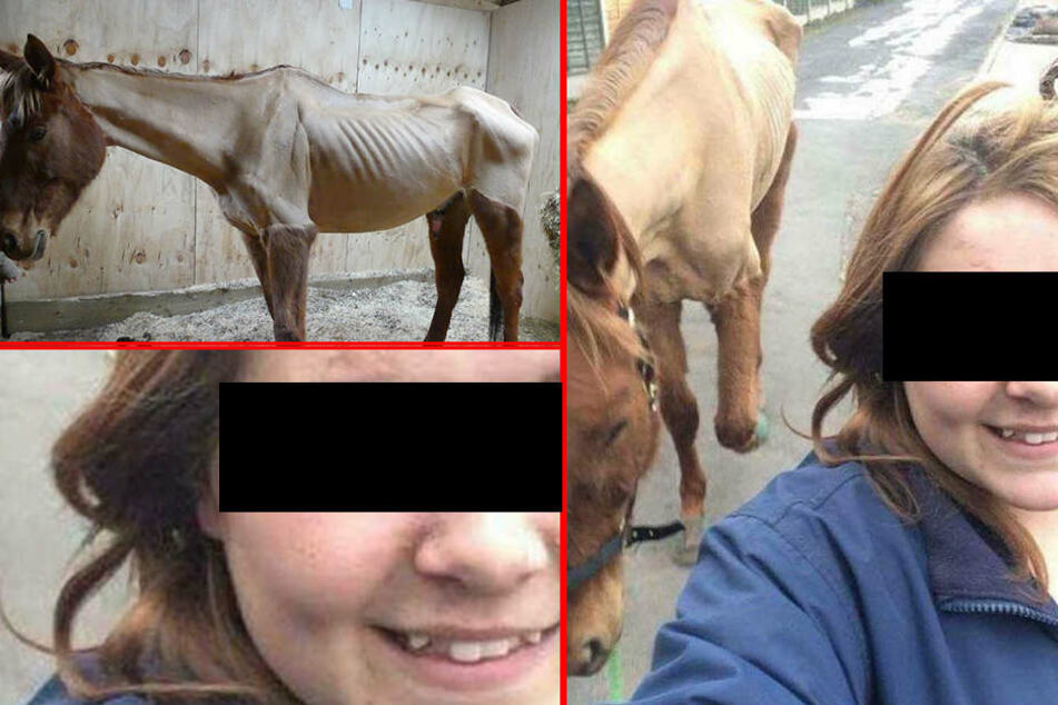Mädchen posiert mit völlig abgemagertem Pferd für ein Selfie