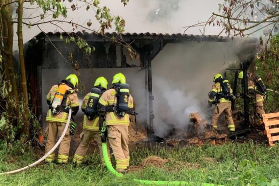 Eine Hütte auf einer Wiese an der Brandisstraße brannte nieder.