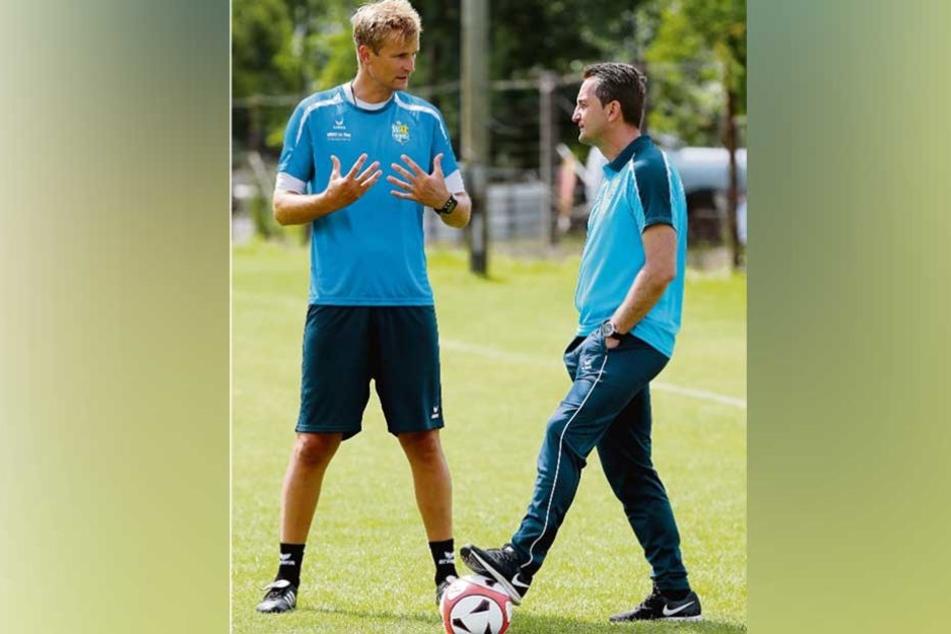 CFC-Sportdirektor Thomas Sobotzik (r.) hat geliefert. Jetzt muss Trainer David Bergner eine Mannschaft aus den unzähligen Neuzugängen formen.