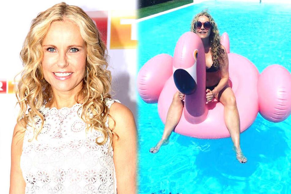 Plantschen mit Flamingo: RTL-Moderatorin postet sexy Pool-Foto