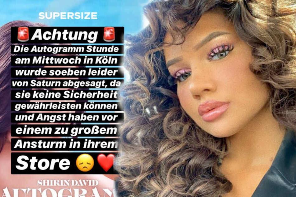 Shirin David muss ihre Autogrammstunde in Köln absagen. (Bildmontage)