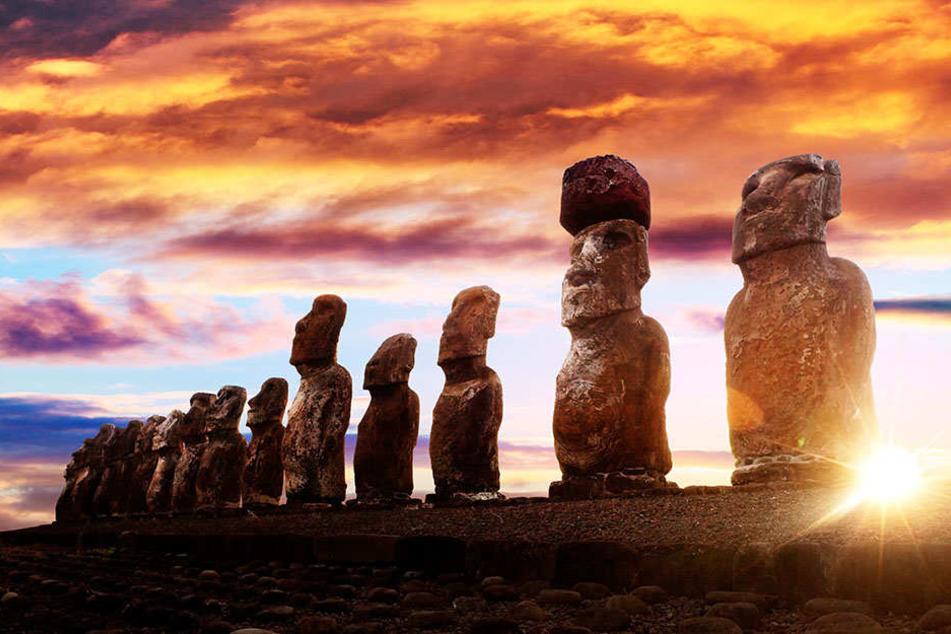 Knacken Sie das Rätsel der Steinstatuen? Die Moais stehen aufgereiht an den Küsten von Rapa Nui, stellen immer nur Männer mit großen Köpfen dar.