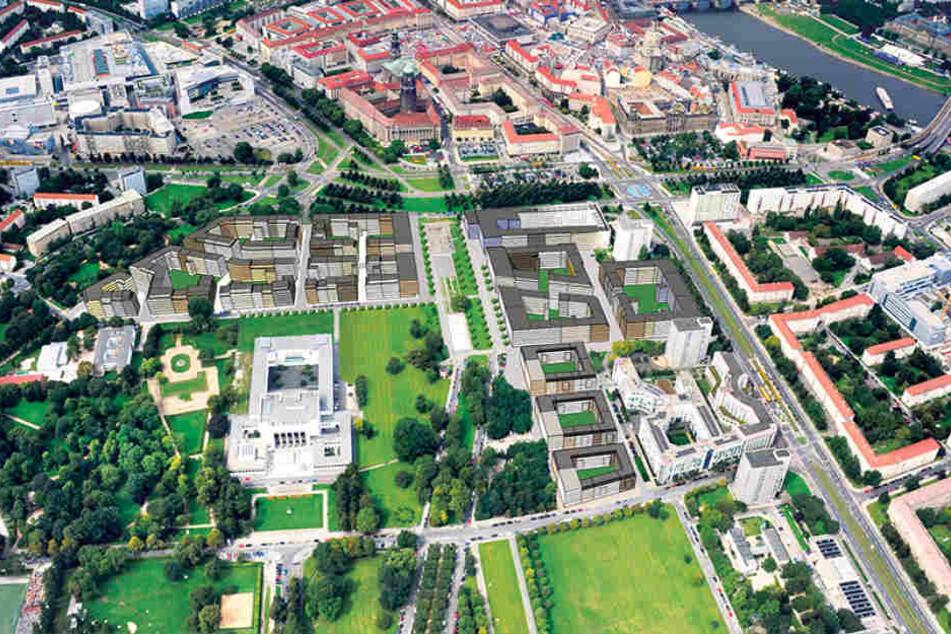 Eine Stadt in der Stadt: So sollen sich die 3000 Wohnungen entlang der Lingnerallee verteilen.