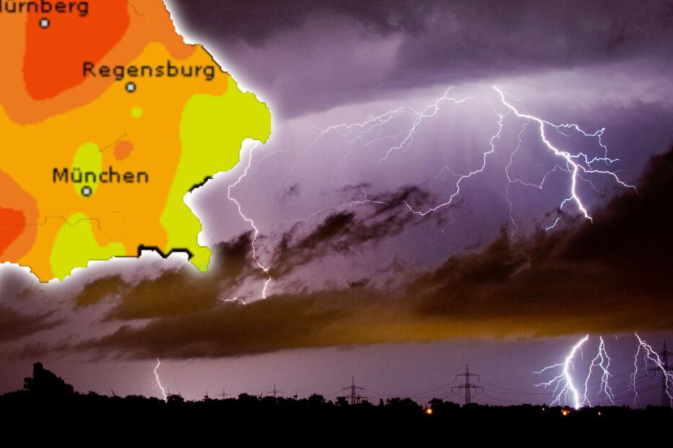 In weiten Teile Bayerns kann es am Pfingstmontag zu heftigen Gewittern kommen. (Bildmontage)
