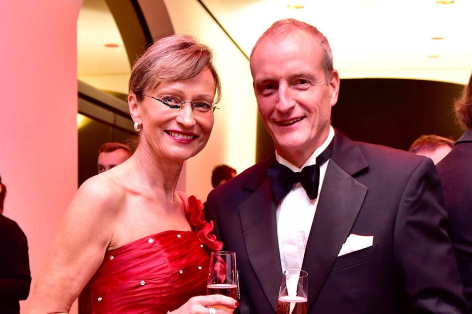 Bergsteiger Jörg Stingl und seine Frau Yvonne kamen zum Chemnitzer Opernball.