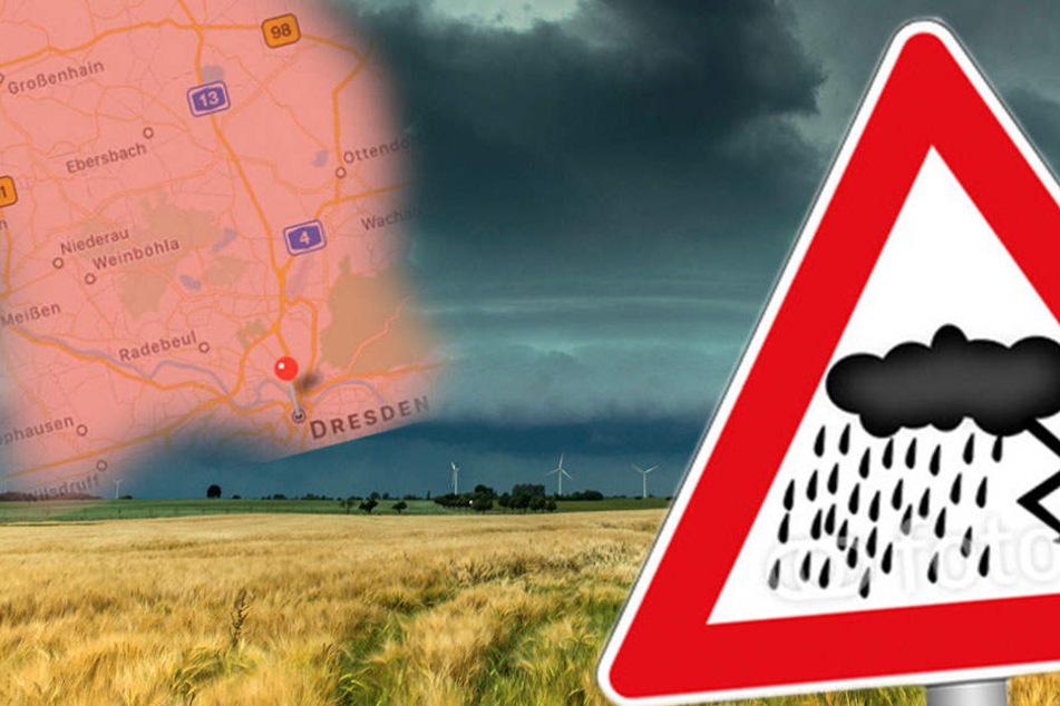 Es besteht amtliche Unwetterwarnung in Dresden!