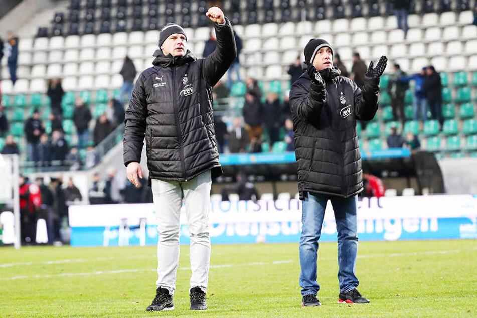 FSV-Sportdirektor David Wagner (l.) und Coach Joe Enochs ordnen derzeit alles dem großen Ziel Klassenerhalt unter.