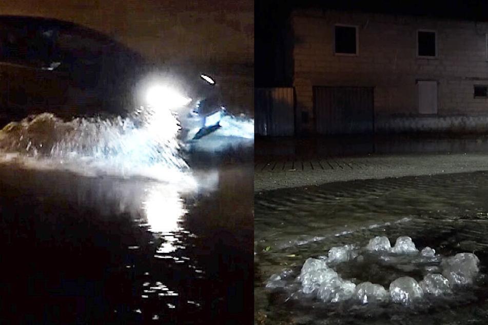 Überschwemmte Straßen, sprudelnde Gullis: So heftig schlug das Unwetter zu