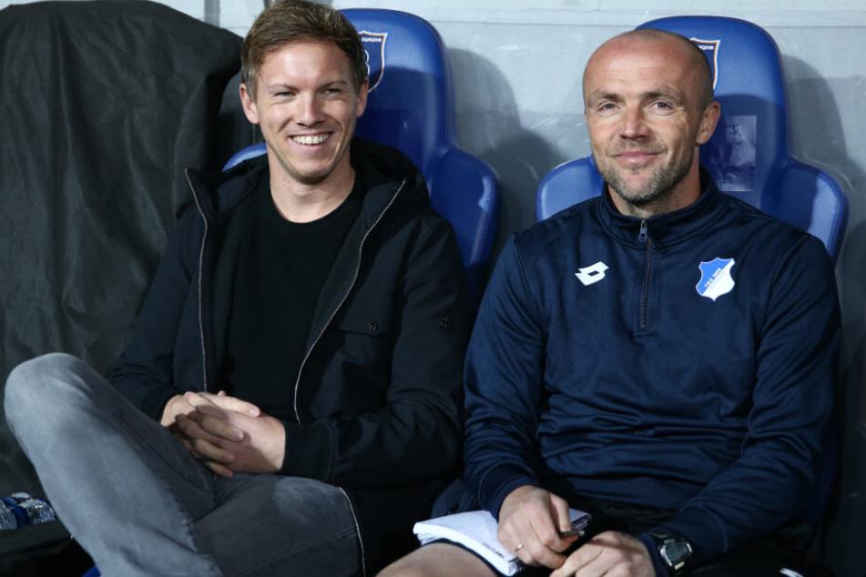Arbeiteten zwischen 2015 bis 2018 gemeinsam bei der TSG: Alfred Schreuder (r.) als Co-Trainer von Cheftrainer Julian Nagelsmann.
