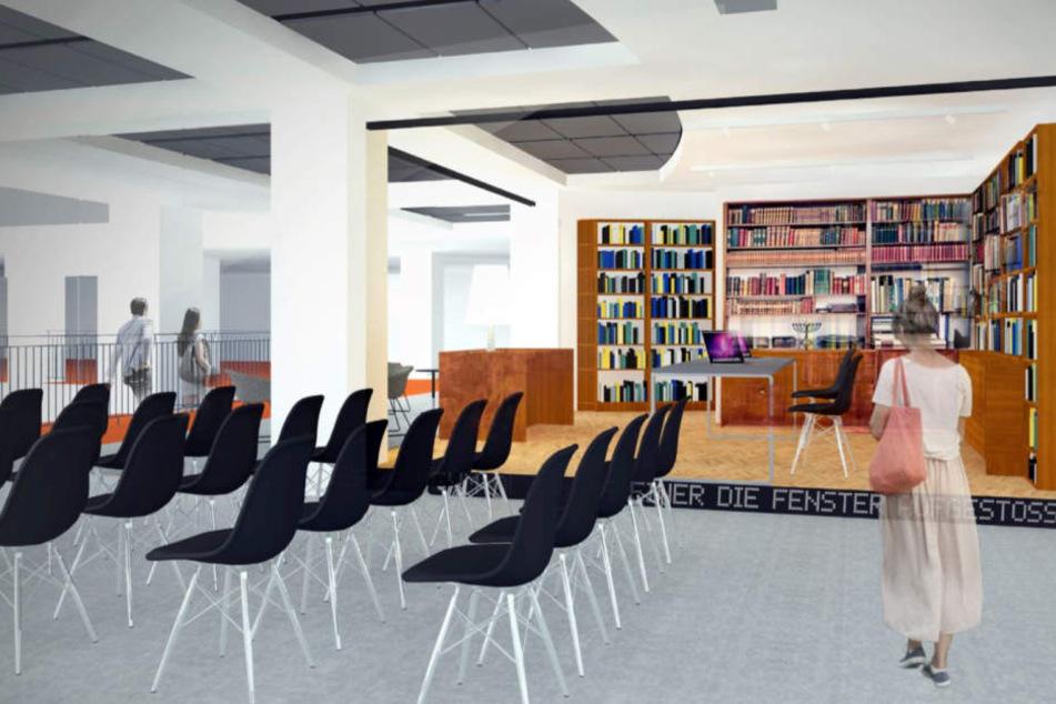 So soll das Arbeitszimmer samt Bücherregalen von Stefan Heym im Tietz aussehen.