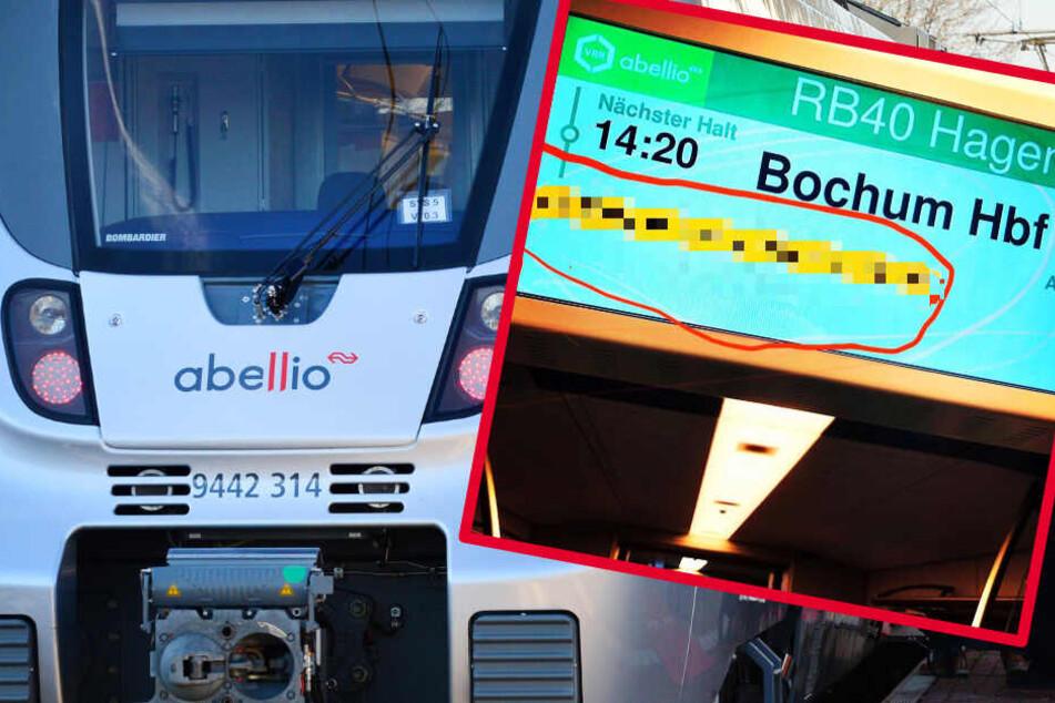 Zugfahrer verwundert, als sie diese Anzeige in der Bahn sehen