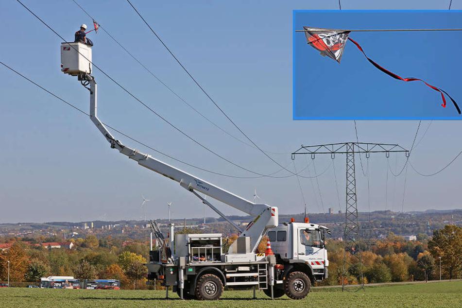 Zwickau: Drachen verfängt sich in Stromleitung