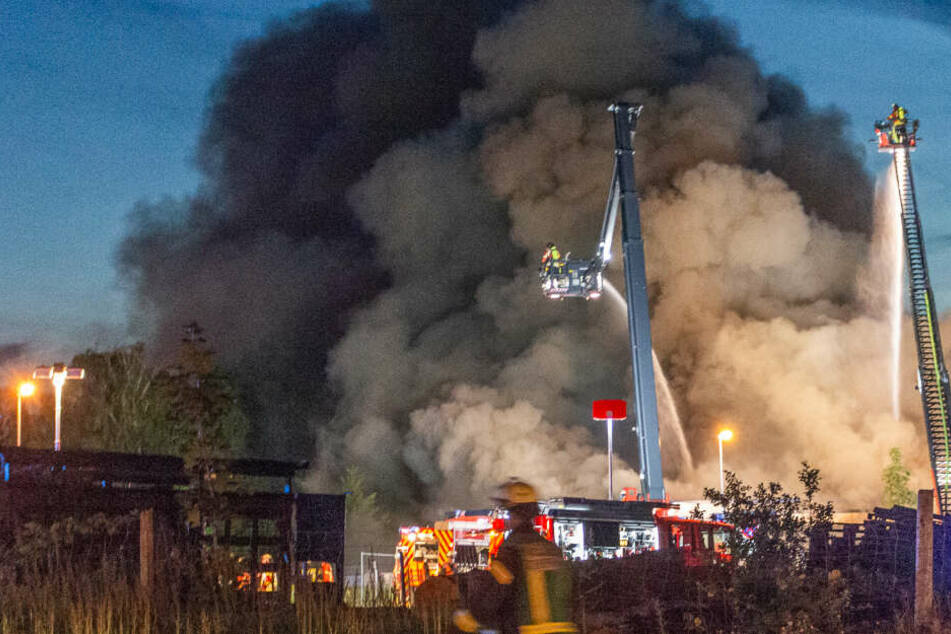 Meterhohe Flammen, riesige Rauchwolken! Firmengebäude fackelt ab