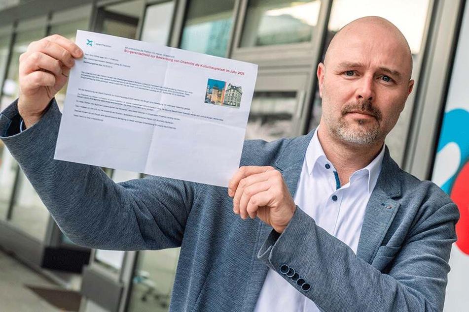 AfD-Politiker Nico Köhler (42) fordert in seiner Petition einen Bürgerentscheid zum Thema Kulturhauptstadt-Bewerbung.