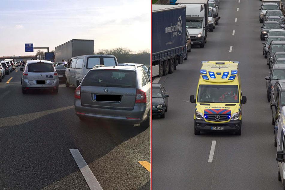 Auf dem linken Bild blockieren Autofahrer die Rettungsgasse. Rechts zeigt die Wunschvorstellung der Rettungskräfte.