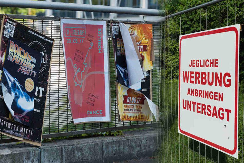 Ein Schild weist deutlich darauf hin, dass das unrechtmäßige Anbringen von Werbung verboten ist.