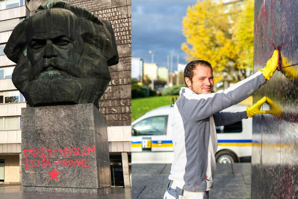 Chemnitz: Schaut hin, Ihr Graffiti-Schmierer: Hier wird Euer Dreck weggemacht!
