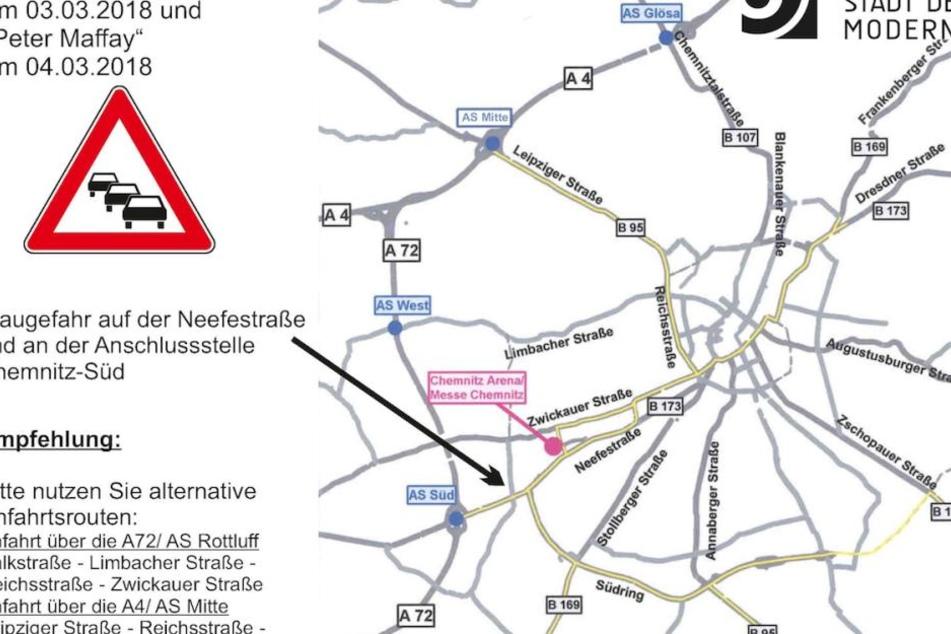 Die Stadt Chemnitz warnt vor Staugefahr im Bereich der Messe/Chemnitz-Arena.