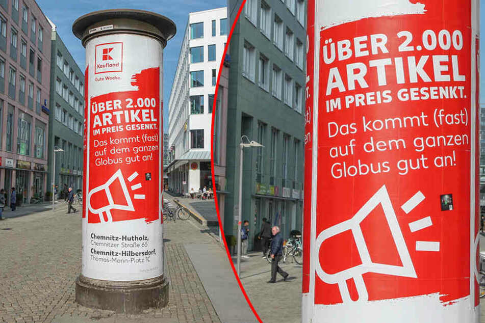 Kaufland nimmt Globus mit Plakat-Spruch auf die Schippe!