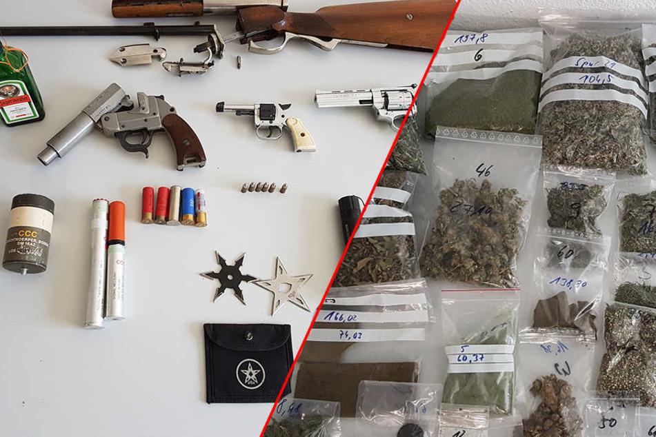 Mann hortet massig Waffen und Drogen in seiner Wohnung