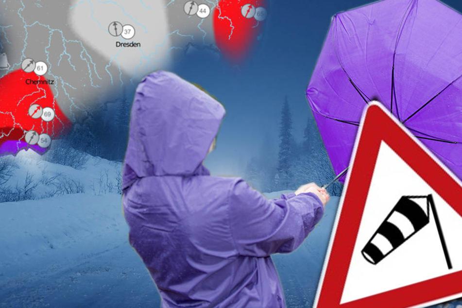 Warnstufe Violett! Eisiger Sturm fegt durch Sachsen