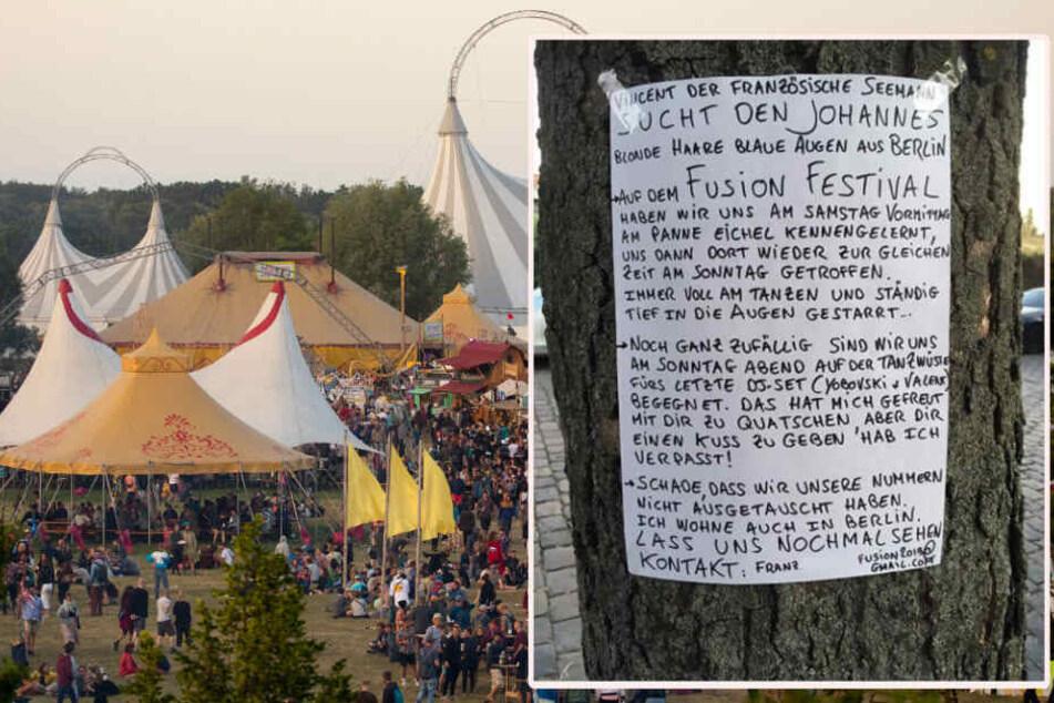 Mit einem handgeschriebenen Zettel wird nach Johannes vom Fusion-Festival gesucht.