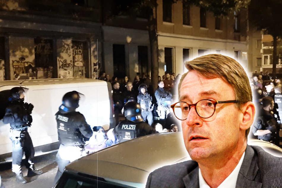Innenminister Wöller verurteilt das Verhalten der Demonstranten scharf.