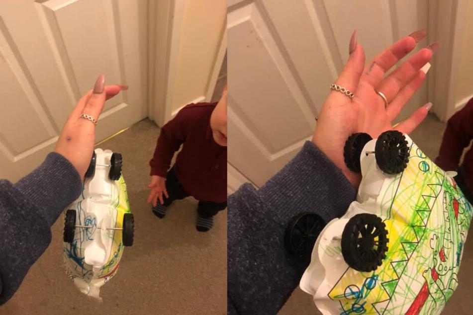 Die Schockbilder zeigen, wie das Spielzeug-Auto an der Hand der jungen Mutter steckt.