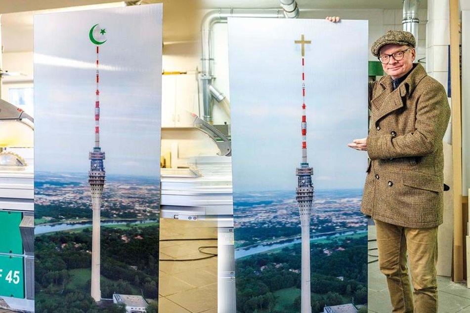 Uwe Steimle präsentiert stolz das große 3-D-Bild des Fernsehturms. Auf dessen Spitze ist als ein Motiv das christliche Kreuz zu sehen. Verändert sich der Blickwinkel, wird aus dem Kreuz ein Halbmond - oder ein Davidstern.