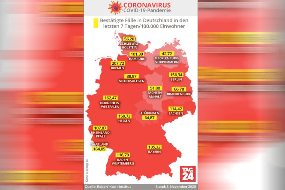 Das sind die bestätigten Fälle in Deutschland in den letzten sieben Tagen pro 100.000 Einwohner.