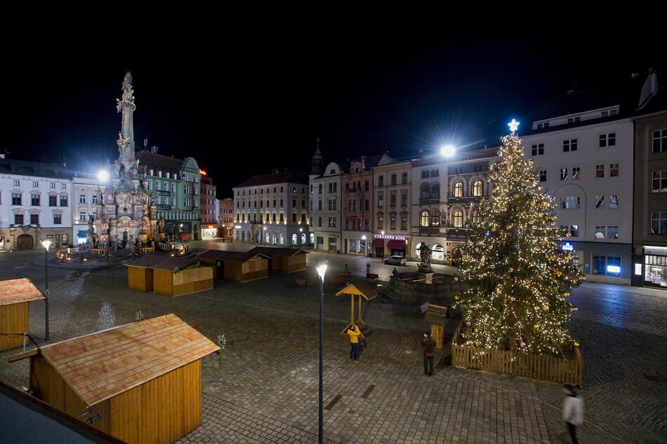 Der Weihnachtsbaum im Zentrum der Stadt Olomouc leuchtet hell.