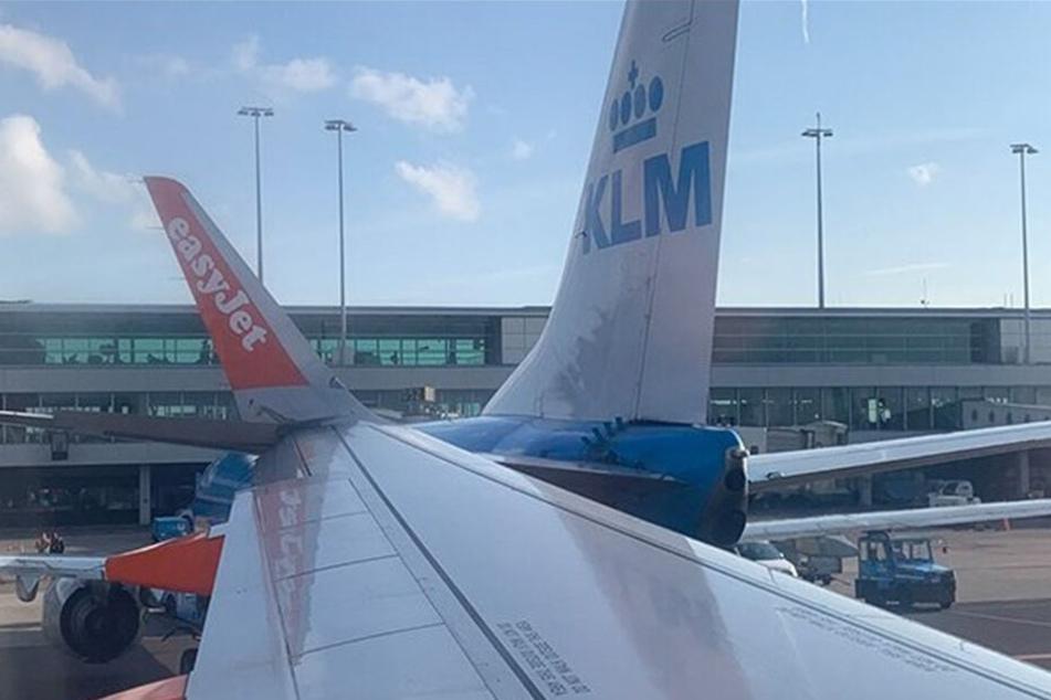 Die Maschinen von EasyJet und KLM kollidierten am Dienstagmorgen auf dem Flughafen Amsterdam-Schiphol.