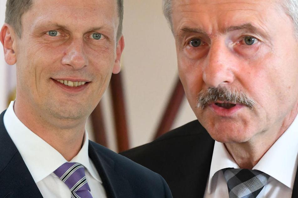 Cottbus' Oberbürgermeister Kelch (l) und Innenminister Schröter. (Bildmontage)