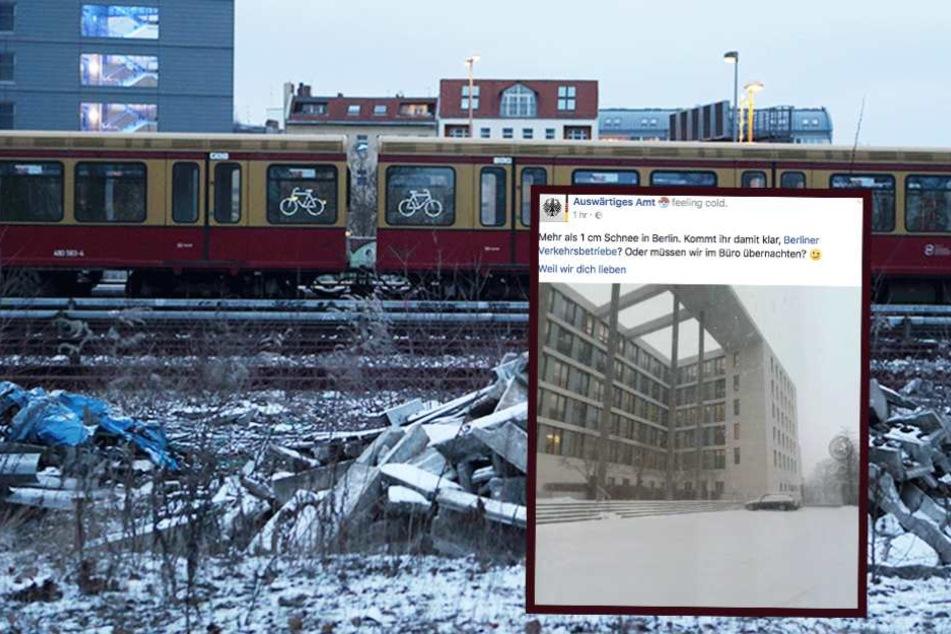 Jetzt reißt auch das Auswärtige Amt Schnee-Witze über die BVG