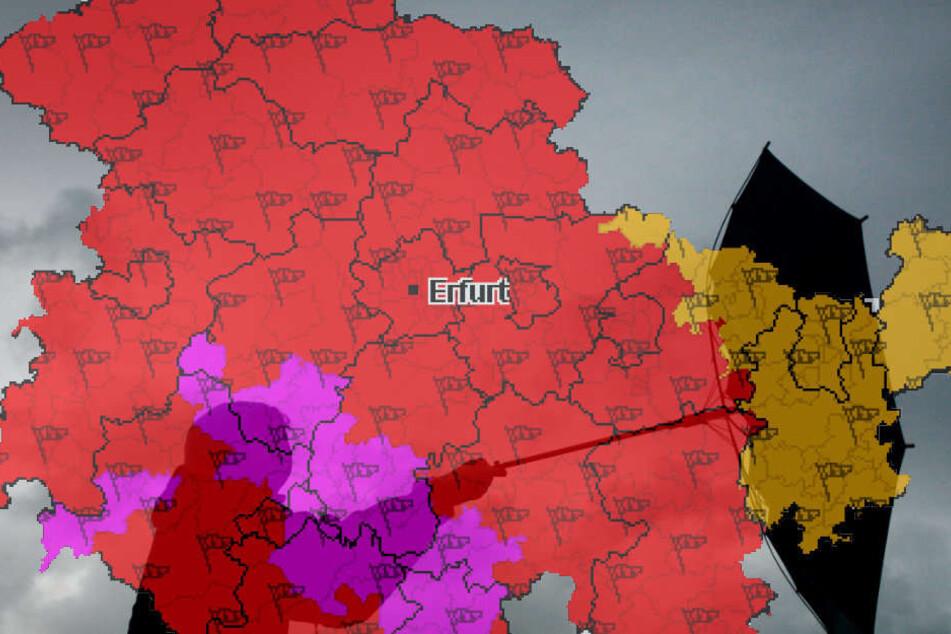 In Thüringen muss mit Sturmböen im 130 Stundenkilometer-Bereich gerechnet werden.
