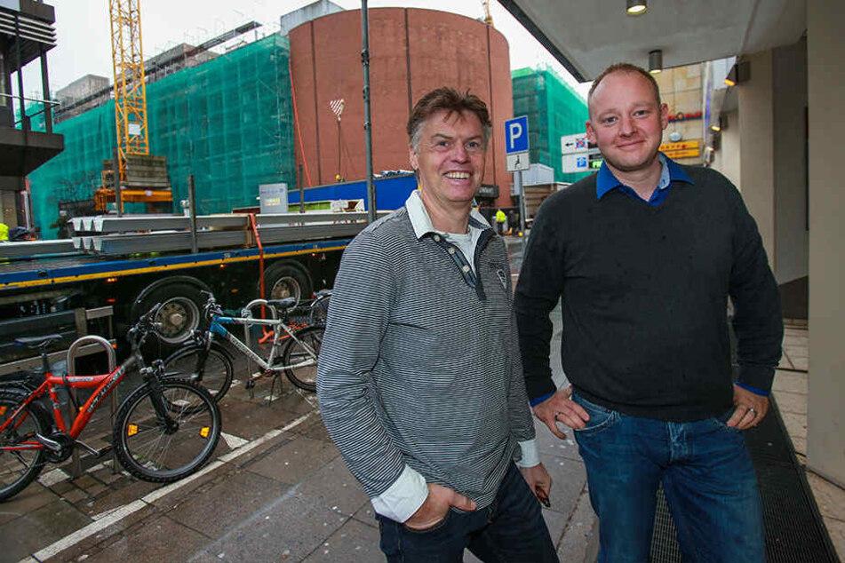 Die Geschäftsleute Andreas Kurpiers und Nico Möhring hoffen, dass der Baulärm bald ein Ende hat.