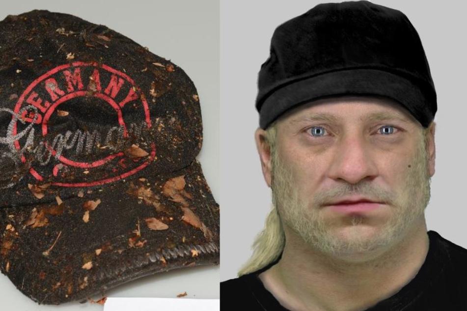 Die Polizei sucht diesen Mann. Links: die gefundene Kappe des Tatverdächtigen.