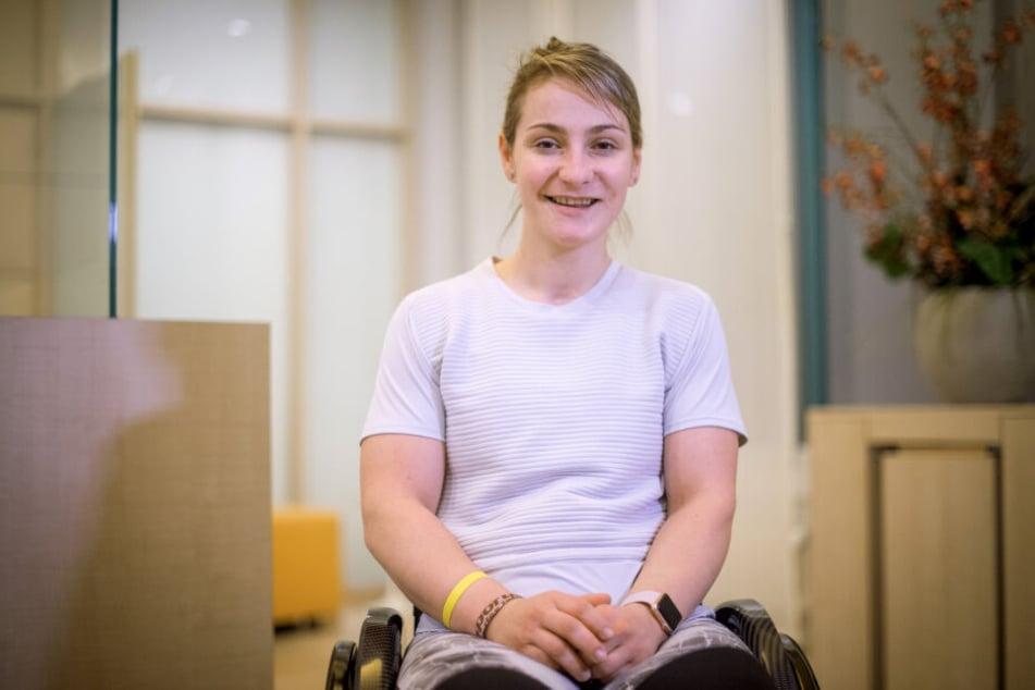 Kristina Vogel während ihrer Reha im Unfallkrankenhaus in Berlin.